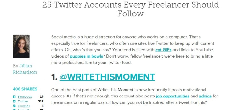 25 Twitter Accounts Every Freelancer Should Follow | The Freelancer, by Contently